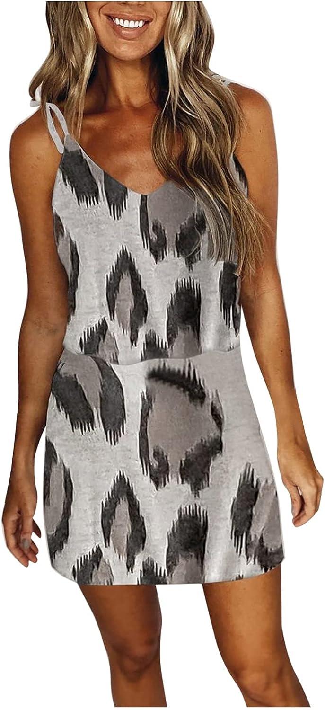 Gerichy Summer Dress for Women 2021, Womens Casual Striped Sleeveless V Neck Dress Drawstring Mini Bodycon Workout Dress