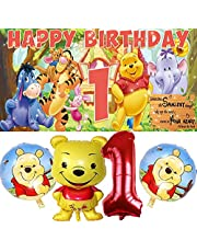 Winnie The Pooh 1st Party Supplies | Favors | Decorations | First | One | Banner | Backdrop | Balloons | Birthday | Set | Decor