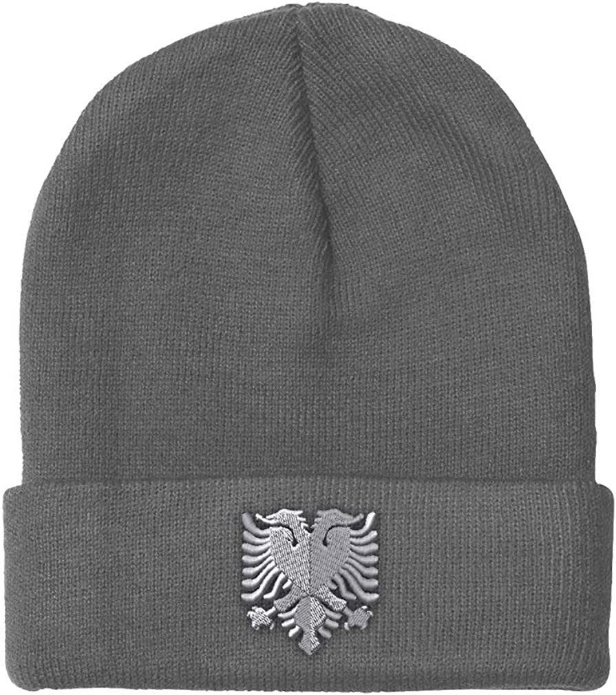 National depot uniform free shipping Beanies for Men Albanian Eagle Embroidery Silver Winter Wom Hats