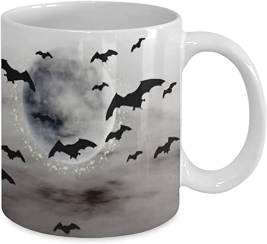 Amazon Com Spooky Halloween Mug Ceramic Happy Halloween Coffee Mug Stormy With Bats For Kids And Adults Kitchen Dining