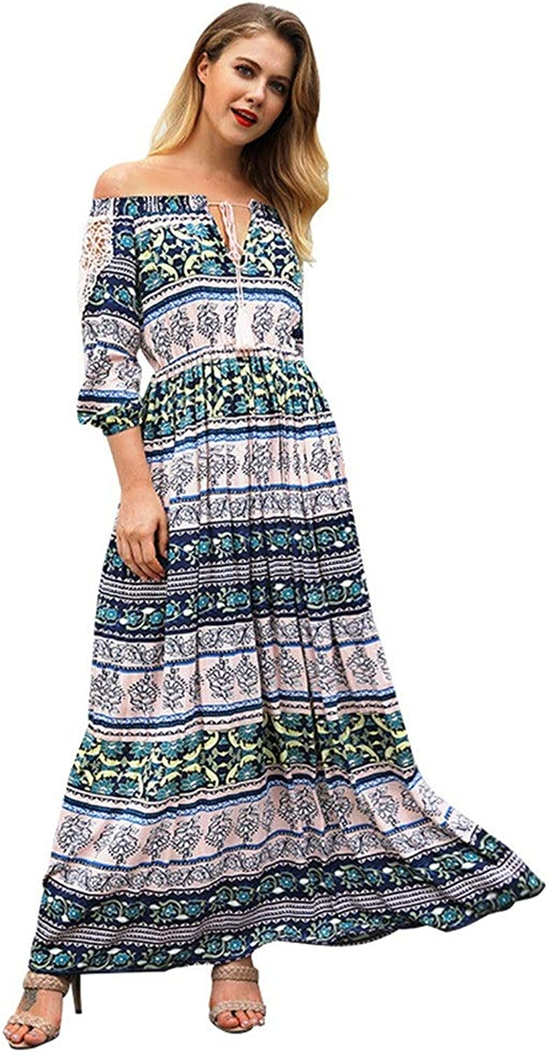 Women Summer Spring Long Dress Off Shoulder 3 4 Sleeve Bohemia Print Flowy Party Dress Casual Plus Size Loose Swing Dress Boho Beach Dress Sundress Maternity Maxi Dress Cocktail Party Dress