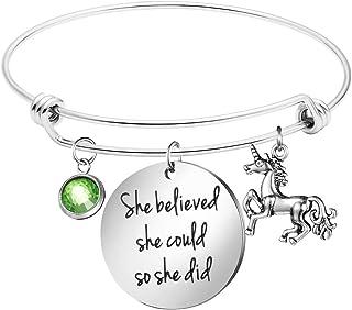 Unicorn Bracelet Girls Birth Month 12 Birthstone Birthday Bracelet Charm Expandable Bangle She Believed She Could Unicorn ...