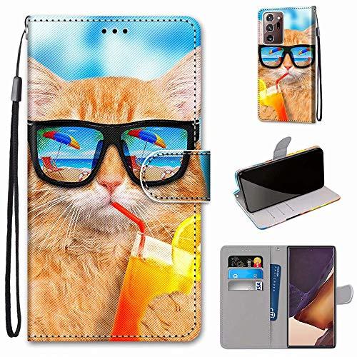Miagon Flip PU Leder Schutzhülle für Samsung Galaxy Note 20 Ultra,Bunt Muster Hülle Brieftasche Case Cover Ständer mit Kartenfächer Trageschlaufe,Limonade Katze