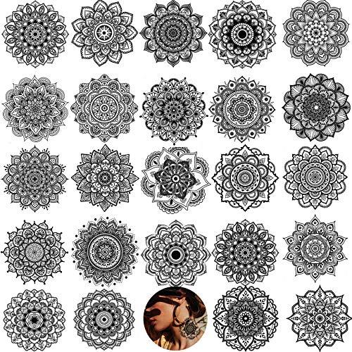 Yezunir 12 Sheets with 24 Stunning Designs Black Mandala Flower Temporary Tattoos For Women Hands Wedding Brides Body Arm Neck Waterproof Indian Tribal Lace Henna Tattoo Mehndi Sticker Fake Tatoos