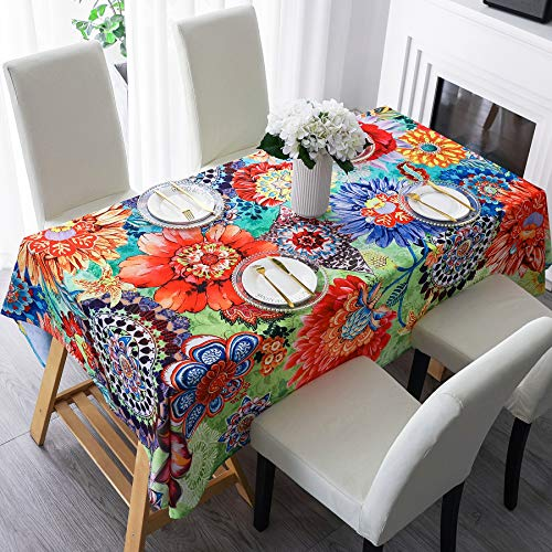 HMS Happy Memories Tablecloth, Original Design Hand Drawing Art Print Table Cloth, Washable Water Resistance Microfiber Decorative Water-Proof Rectangle Table Cover (Tape 8, 52'x72')