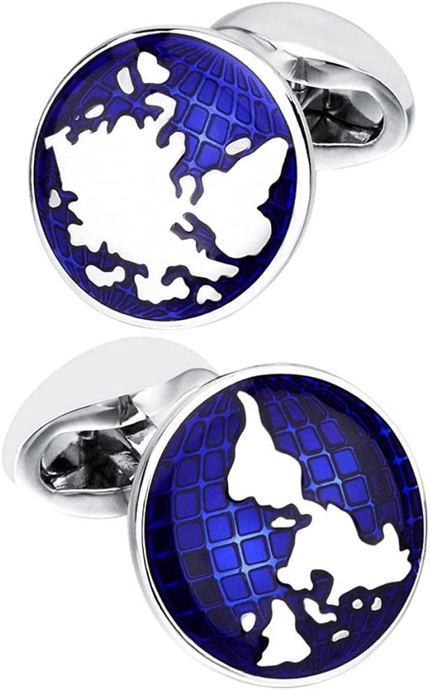 BO LAI DE Men's Cufflinks Round World Map Cuff Links Suitable for Business Events, Meetings, Dances, Weddings, Tuxedos, Formal Shirts, with Gift Boxes