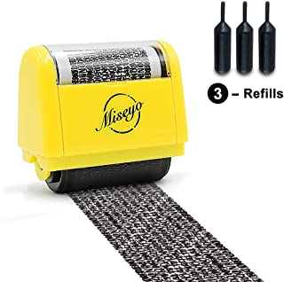 Miseyo Wide Identity Theft Protection Roller Stamp – Yellow (3 Refill Ink Included)