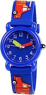 Venhoo Kids Watches 3D Cute Cartoon Waterproof Silicone Children Wrist Watches for Boys Little Child-Blue Fireman
