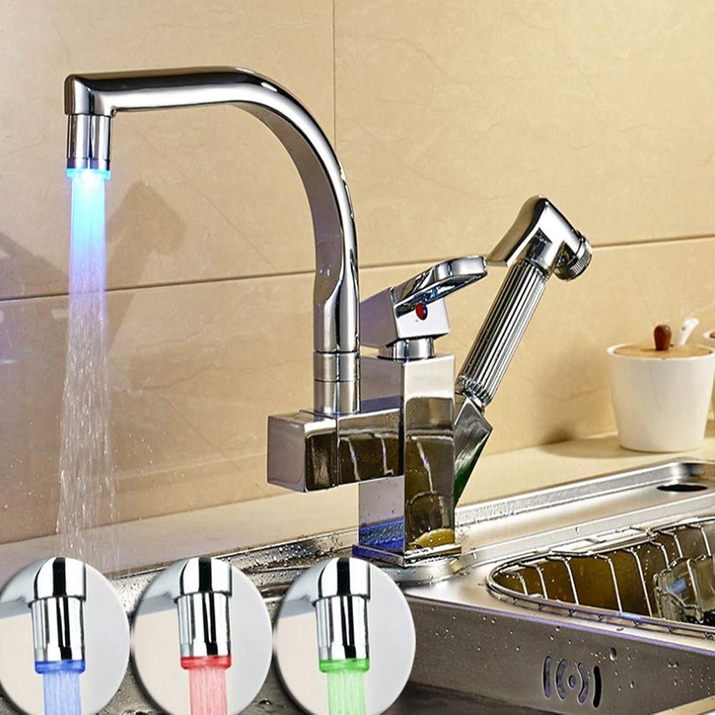 KUNHAN Küchenarmatur Polierchrom LED Ziehen Küchenhahn Doppelte Auslaufplattform Heraus Angebrachten Küchenhahn Mit Heiem Und Kaltem Wasserkran Aus
