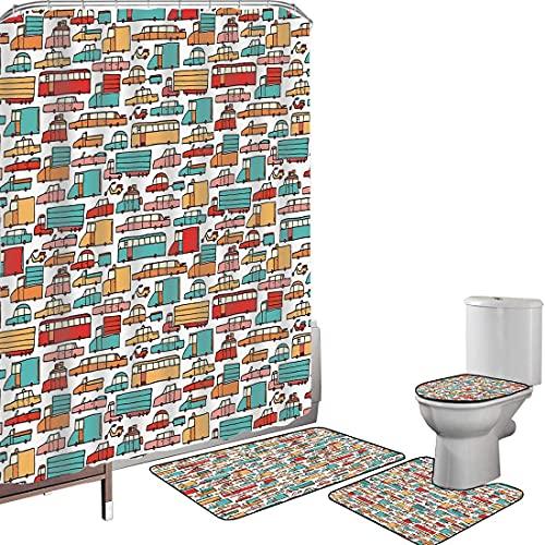Juego de cortinas baño Accesorios baño alfombras Coches Alfombrilla baño Alfombra contorno Cubierta del inodoro Dibujo infantil de muchos vehículos Motos Caravanas Camiones Taxis Autobuses Estampados
