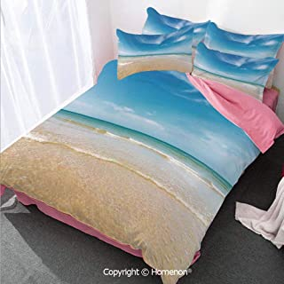 Homenon Ocean Duvet Cover Set Twin Size,Sea and Sky Landscape at The Beach in Tropical Exotic Fantas,Decorative 3 Piece Bedding Set with 2 Pillow Shams Cream Blue