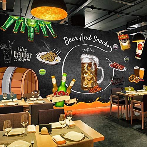 DZBHSCL 4D behang wandschilderingen, modern retro nostalgie bord bier snack Hd kunstdruk grootte fotobehang poster voor café western hotel ctv restaurant achtergrond muur decor 80in×120in 200cm(H)×300cm(W)