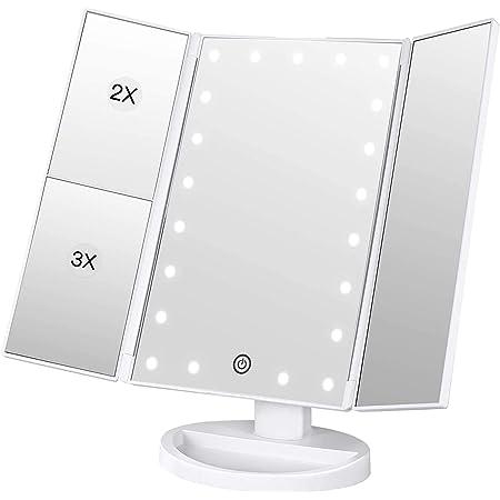 化粧鏡 化粧ミラー 鏡 三面鏡 女優ミラー 卓上 led付き 折りたたみ 拡大鏡 2&3倍 明るさ調節可能 180°回転 電池&USB 2WAY給電