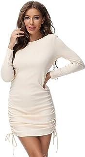 فستان قصير للنساء فستان قصير مثير للحفلات برقبة دائرية ورباط محبوك للنادي Bodycon فساتين قصيرة