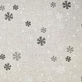 Stoff Meterware Baumwolle natur Schneeflocken Sterne grau