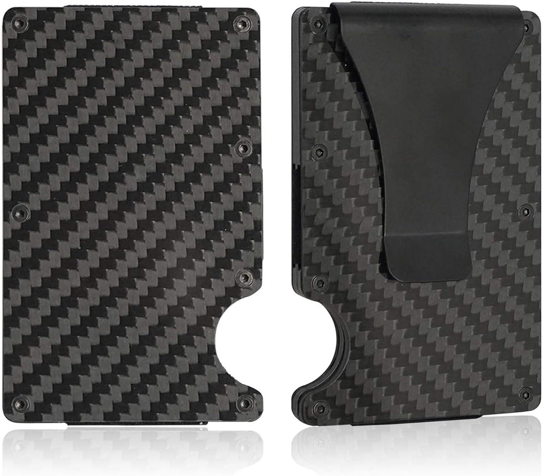 Metal Aluminum Carbon Fiber Wallet Card Holder Money Clip Minimalist RFID Slim