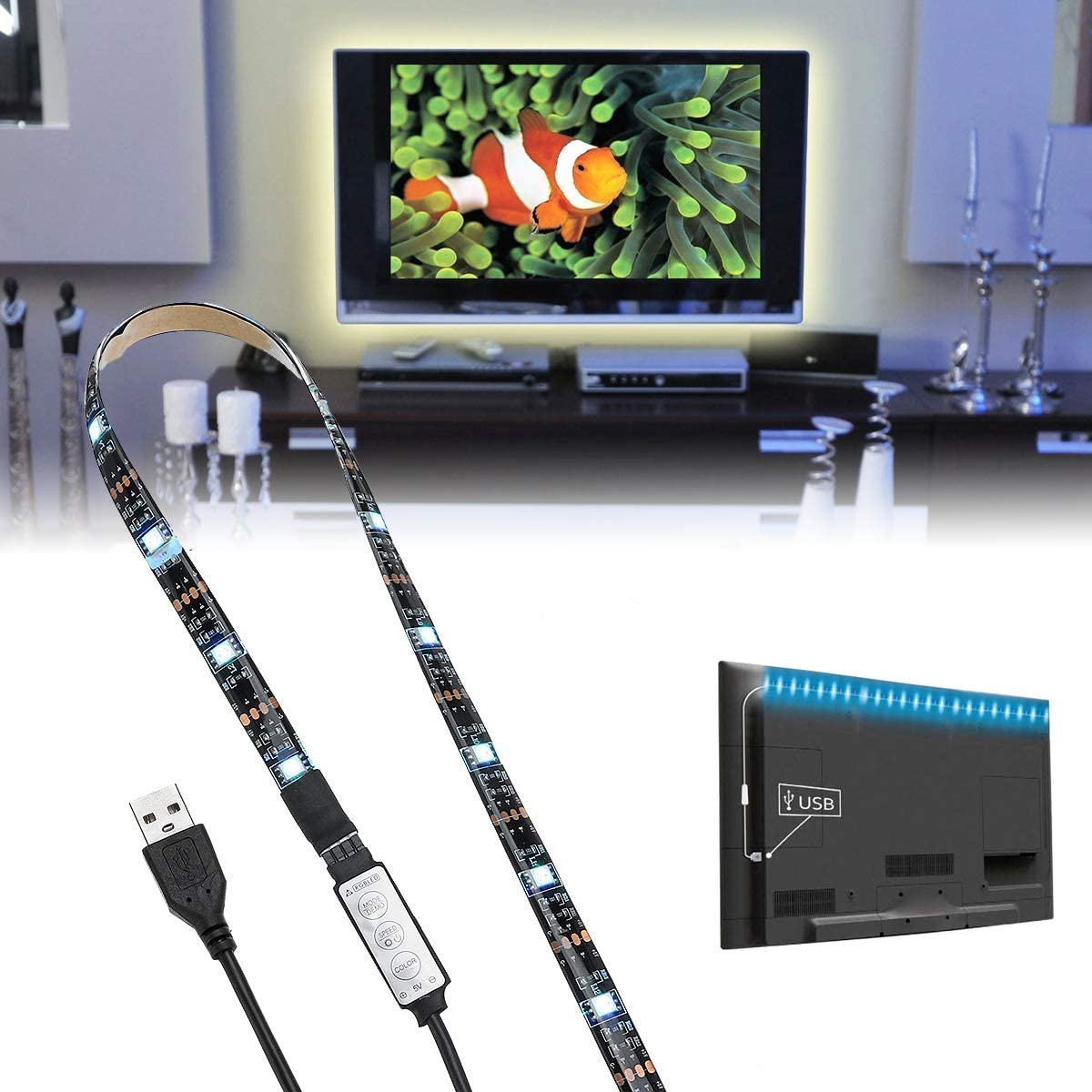 H A ILFYJR DC5V USB Under blast sales Powered SMD5050 L Strip Brand new Change LED Color RGB
