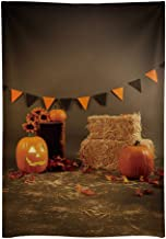 Funnytree 5X7ft Halloween Pumpkin Old Master Photography Backdrop Autumn Fall Hay Bale Flags Background Hallowmas Party Banner Children Newborn Baby Portrait Photo Booth Studio