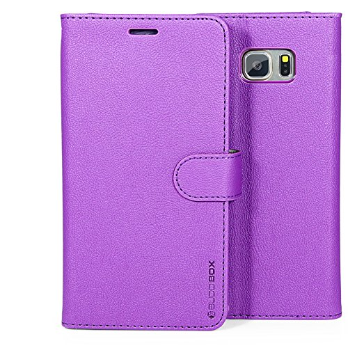 Galaxy S6 Case, BUDDIBOX [Wallet Case] Premium PU Leather Wallet Case with [Kickstand] Card Holder and ID Slot for Samsung Galaxy S6, (Purple)