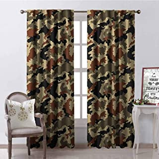 Tapesly Camouflage 99% Blackout Curtains Pixel Art Style Blending in Environment Pattern Abstract Fashion Design for Bedroom- Kindergarten- Living Room W100 x L84 Inch Brown Black Sepia