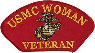 U S MARINE CORPS WOMAN VETERAN with EAGLE GLOBE and ANCHOR PATCH - Red - Veteran Owned Business