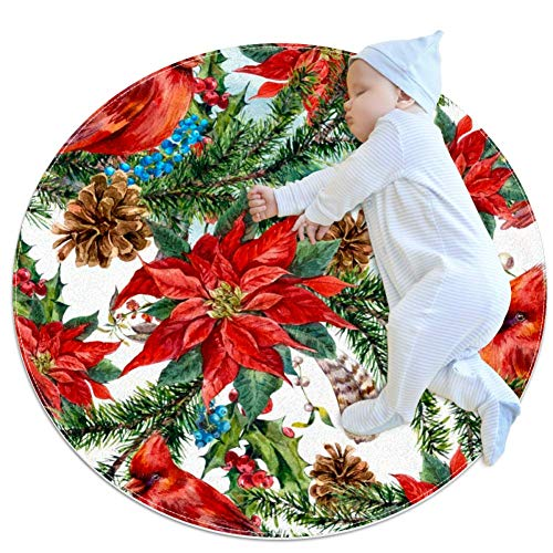TIZORAX Christmas Floral Poinsettia Shaggy Area Rug Carpet for Living Room Bedrooms Kids Nursery Home Dining Floor Carpets Rug 2.6 Feet Round