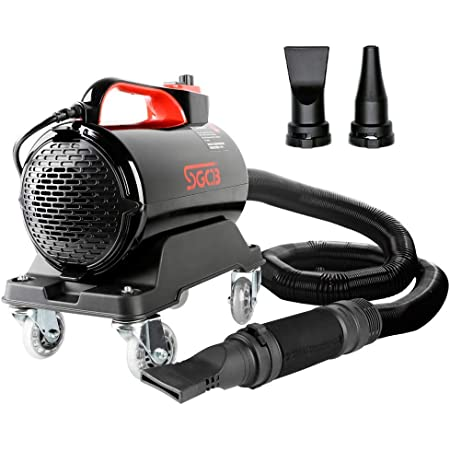 SGCB PRO Car Air Dryer Blower, 5.0HP Powered Double Mode Temp High Velocity Car Dryer Air Cannon Detail Blower w/Caster Base & 16.4 Ft Flexible Hose & 2 Air Jet Nozzles for Car Wash Water Drying