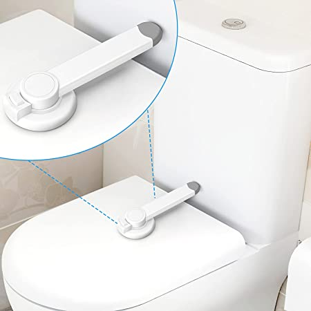 Crosize Toilet Locks Baby Proof, Toilet Seat Lock Child Safety with Adhesive, Fit for 90Degree Plane Standard Flush Toilet, Toilet Baby Proofer Prevent Opening Toilet Cover and Easy to Install (White)