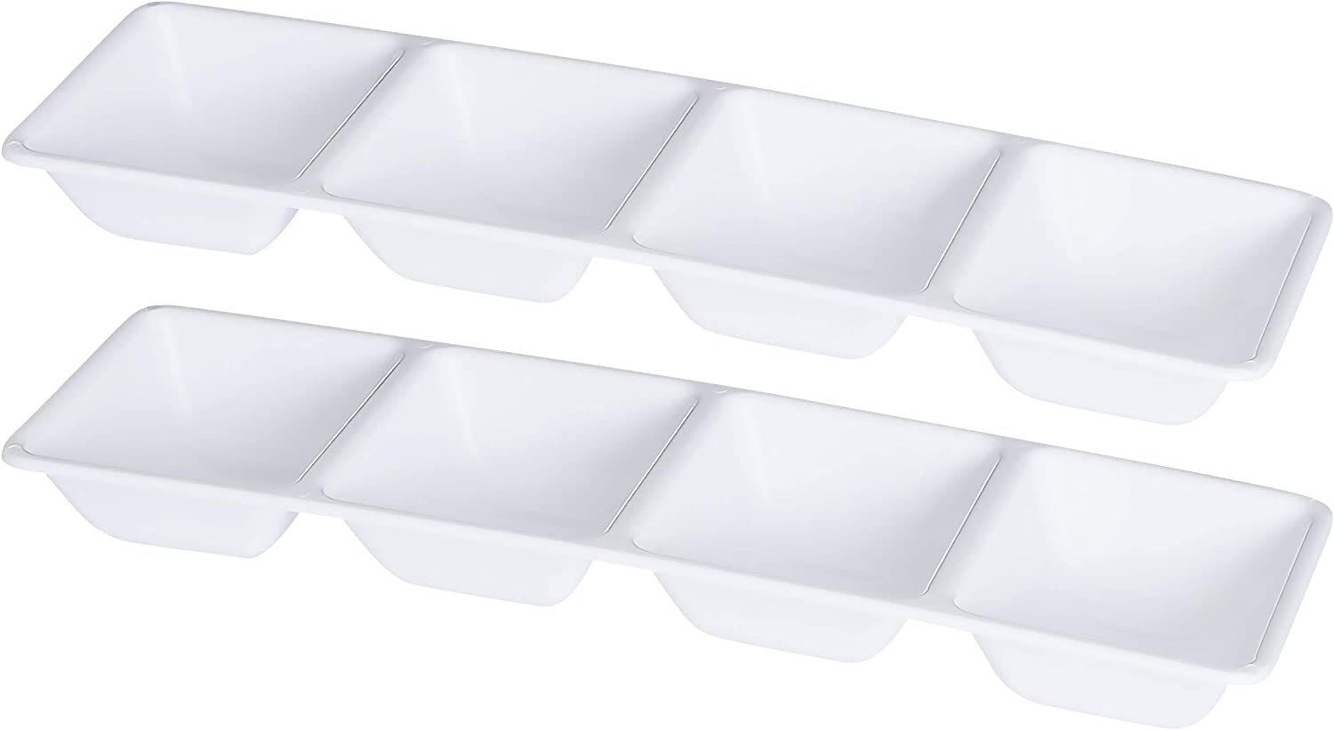   Plasticpro 4 Sectional Rectangle Plastic Disposable Serving Tray/Platter 5 X 16 White Pack of 2: Platters