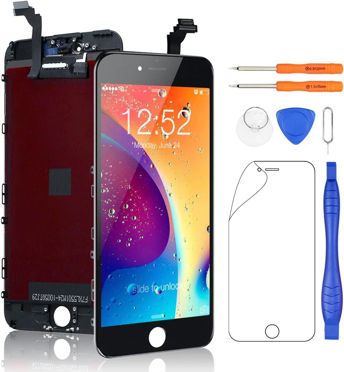 Yodoit para Pantalla iPhone 6 Plus Negro, Conjunto de Pantalla LCD y digitalizador Reemplazo de la Pantalla táctil de Vidrio con Marco + Kit de Herramientas de reparación (5,5 Pulgadas)