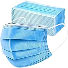 Disposable 3ply Face Mask Elastic Earloop Mouth Face Cover Sanitary Masks Safety,Anti-spittle,Protective Dust(Blue,50pcs)
