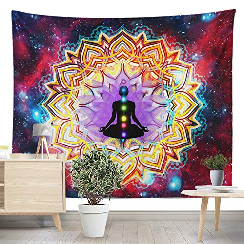DESERT CAMEL Chakra Meditation Tapestry Colorful Psychedelic Indian Mandala Wall Hanging Trippy Yoga Buddha Statue Tapestries 59 x 51 in