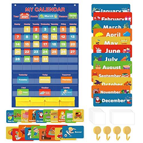 Classroom Calendar Pocket Chart, School Calendar for Kids Learning for Home, Homeschool Classroom Supplies for Teachers Elementary