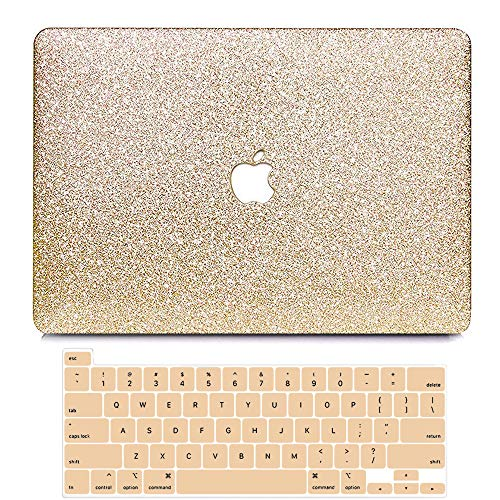 BELKA MacBook Pro 13 Inch Case 2021 2020 2019 2018 2017 2016 Release A2338 M1 A2251 A2289 A1989 A2159 A1706, Glitter Sparkly Smooth PU Leather Hard Case + Keyboard Cover, New MacBook Pro 13 Touch Bar