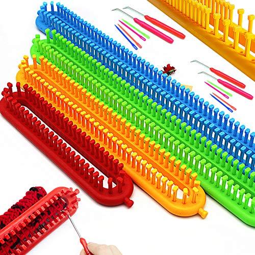 Katech Kit Tricotin Rectangulaire, 4 Pièce Différentes Tailles Multifonctionnel Long Métier à Tricoter en Plastique et Outils Accessoires de Tricot, Bricolage Tricot Machine à Tisser pour Débutants