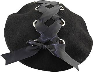 MINAKOLIFE Womens French Artist Solid 100% Wool Beret Hats with Rivets Ribbon