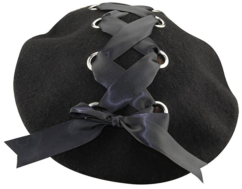 自治ラバ克服するミナコライフレディース リボン付き ベレー帽 シンプル無地 ブラックレースアップ お姫様風 フェルト製 帽子 キャップ