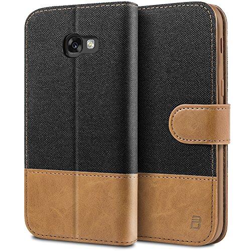 BEZ Handyhülle für Samsung Galaxy A5 2017 Hülle, Tasche Kompatibel für Samsung Galaxy A5 2017, Handytasche Schutzhülle [Stoff und PU Leder] mit Kreditkartenhaltern - Schwarz