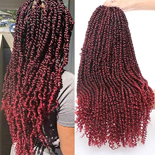 Xtrend 6packs 22inch Pre-twisted Passion Twist Crochet Hair Synthetic Pre-looped Passion Twist Hair Curly Ends Bohemian Braids Hair Extension for Black Women (6packs, 1B/BUG#)