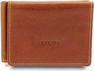 GIUDI ® Portafoglio uomo in pelle vacchetta, vera pelle, moneyclip, Made in Italy (Nocciola)