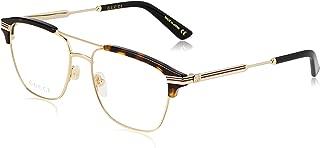 GG 0241O 003 Gold Havana Plastic Rectangle Eyeglasses 54mm