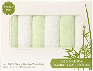 Snuggle Petit Baby Washcloths - 6X Pack Soft 100% Organic Bamboo, Towels - Eco-Friendly, Super Absorbent, Anti-Bacterial, ...