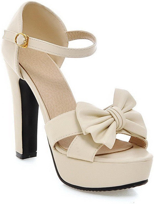 AllhqFashion Women's Solid High Heels Buckle Open Toe Sandals