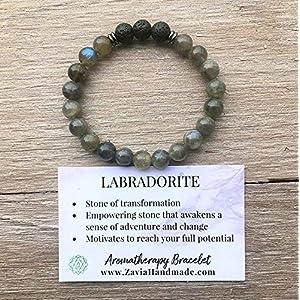 Labradorite and Lava Rock Aromatherapy Bracelet