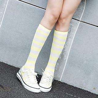 4 Piezas Animación Estudiante Estilo japonés Cosplay Rayas Anchas Calcetines por Encima de la Rodilla Calcetines de Fondo Niños con Forma antifricción