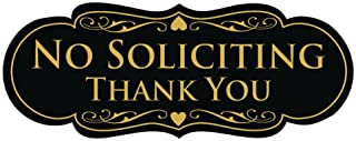 Best All Quality Designer NO Soliciting Thank You Sign - Black/Gold Medium Review