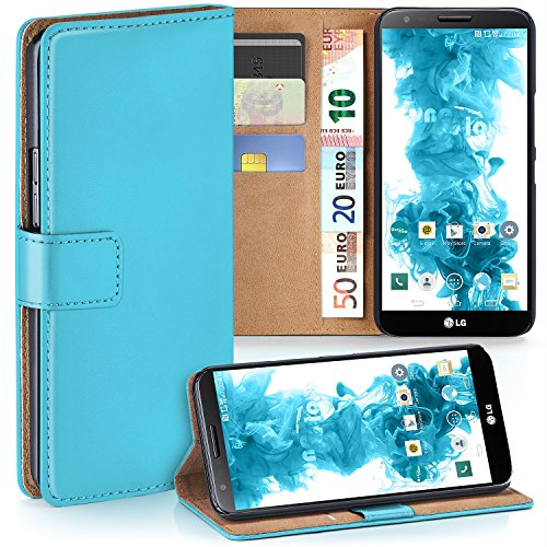MoEx Premium Book-Case Handytasche kompatibel mit LG G2 | Handyhülle mit Kartenfach und Ständer - 360 Grad Schutz Handy Tasche, Türkis
