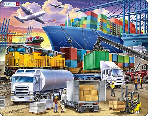 Larsen US44 Geschäftiges Frachtdrehkreuz mit Schiffen, Lastwagen, Zügen und Flugzeugen, Rahmenpuzzle mit 37 Teilen
