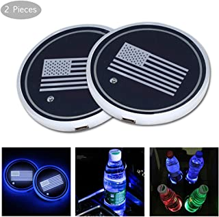BALMOST LED Car Cup Holder Pad Lights, Luminescent Cup Mat, Bottle Drinks Coaster with 7 Colors Changing USB Charging Mat, Interior Atmosphere Lamp Decoration Light for Car