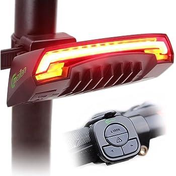 Meilan X5 - Luz trasera inteligente, USB recargable, control remoto inalámbrico, luces láser, para mototocicleta, bicicleta BMX, carretera e híbrida, 85 lúmenes